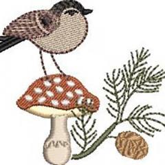 BIRD IN MUSHROOM