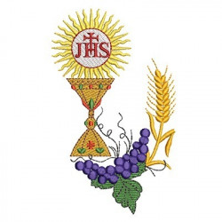 CONSECRATED HOST WITH WHEAT AND GRAPES