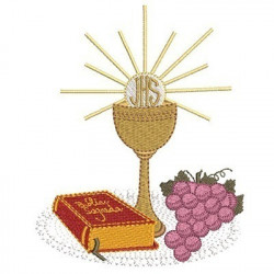 CHALICE WITH BIBLE AND GRAPES
