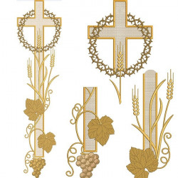 CROSS SET WITH WHEAT AND CROWN 78 CM