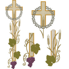 CROSS SET WITH WHEAT AND CROWN 53 CM