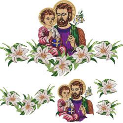 LILIES AND SAINT JOSEPH ALTAR TOWEL SET 163