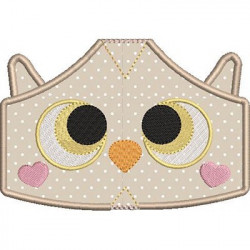 2 CHILDREN'S MASKS OWL WITH EMBROIDERED FINISHES
