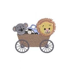 CAR WITH LION AND KOALA