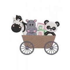CAR WITH ZEBRA AND PANDA