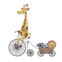 GIRAFFE ON BIKE WITH FRIENDS
