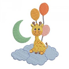 BABY GIRAFFE IN THE CLOUDS WITH BALLOONS