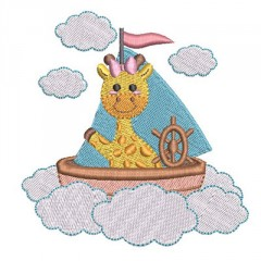 BABY GIRAFFE IN THE CLOUDS WITH BOAT
