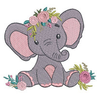 ELEPHANT WITH FLOWERS  Can be amended to form a continuous embroidery