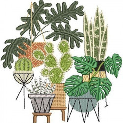 SET OF CACTUS AND FOLIAGE VESSELS