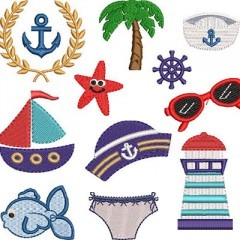 PACK OF 40 CHILDREN'S NAUTICAL EMBROIDERIES