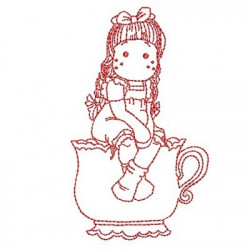 GIRL IN CUP REDWORK