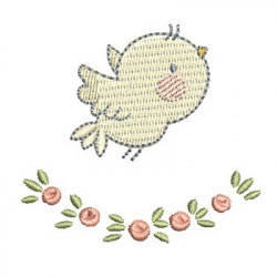 BIRD WITH FLOWERS BOW