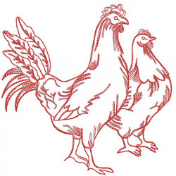 REDWORK COUPLE CHICKEN
