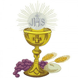 CHALICE WHEAT BREAD AND GRAPES 15CM