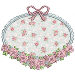 FRAME FLORAL BACKGROUND APPLIED APLLIED CLOTHS