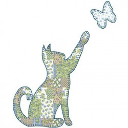 CAT WITH APPLIQUE BUTTERFLY