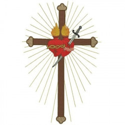 CROSS WITH IMMACULATE AND SACRED HEART SACRED AND IMMACULATE HEART