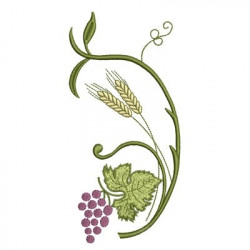 BUNCH OF GRAPES WITH WHEAT BRANCH