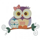 OWL MOTHER AND SON (A) 18 CM