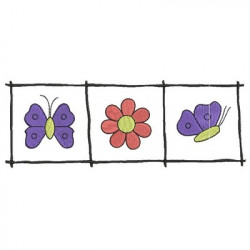FRAME WITH FLOWER AND BUTTERFLIES ANIMAL