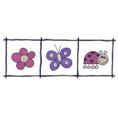 FRAME WITH FLOWER, BUTTERFLY AND LADYBUG