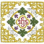 5 EMBROIDERED ALTAR CLOTHS - JHS GRAPES AND WHEAT 118