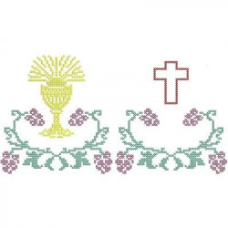 BARRED FROM POINT CHALICE CROSS AND CROSS CROSS STITCH