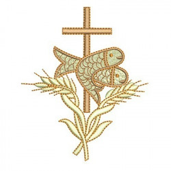 EUCHARIST FISH WHEAT AND CROSS