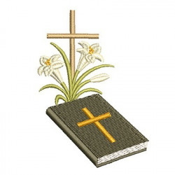 HOLY CROSS BIBLE WITH LILIES 2