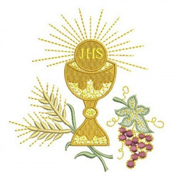 CHALICE WITH GRAPES AND WHEAT AND HOSTS