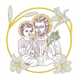 SAINT JOSEPH MEDAL WITH LILY 29 CM