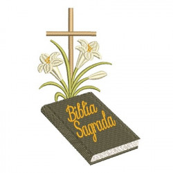 SACRED BIBLE CROSS AND LILIES