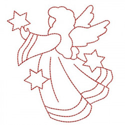 ANGEL WITH STARS REDWORK