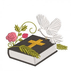 BIBLE WITH FLOWERS AND DIVINE